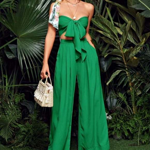 Tie front tube top with wide leg pants set